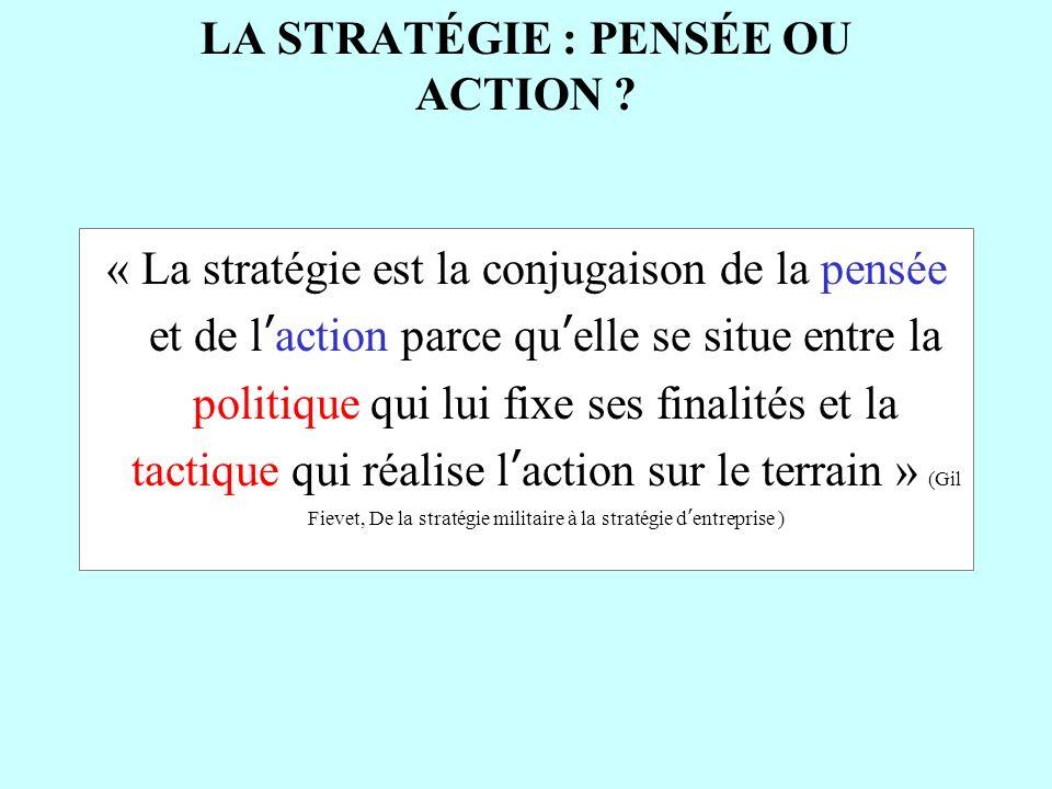 LA STRATÉGIE : PENSÉE OU ACTION ? « La stratégie est la conjugaison de la pensée et de laction parce quelle se situe entre la politique qui lui fixe s