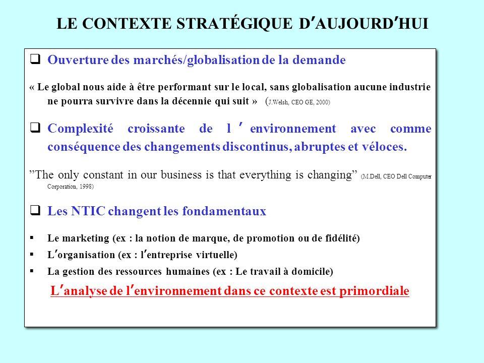 LE CONTEXTE STRATÉGIQUE DAUJOURDHUI Ouverture des marchés/globalisation de la demande « Le global nous aide à être performant sur le local, sans globa