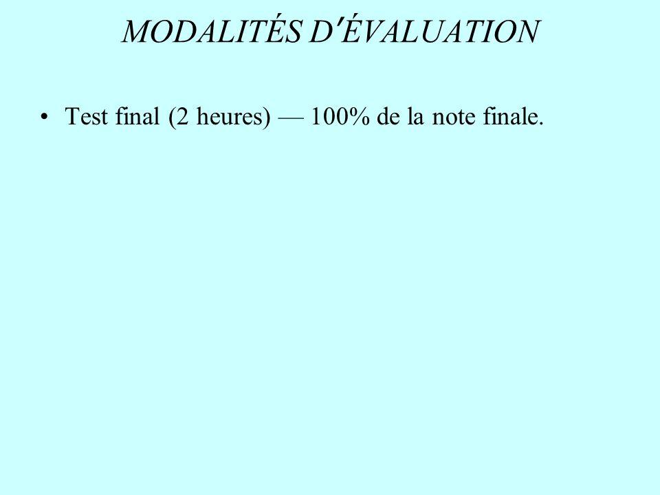 MODALITÉS DÉVALUATION Test final (2 heures) 100% de la note finale.