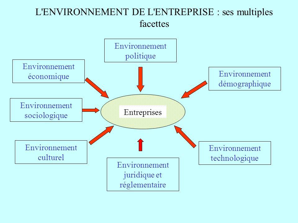 L'ENVIRONNEMENT DE L'ENTREPRISE : ses multiples facettes Environnement politique Environnement démographique Environnement juridique et réglementaire