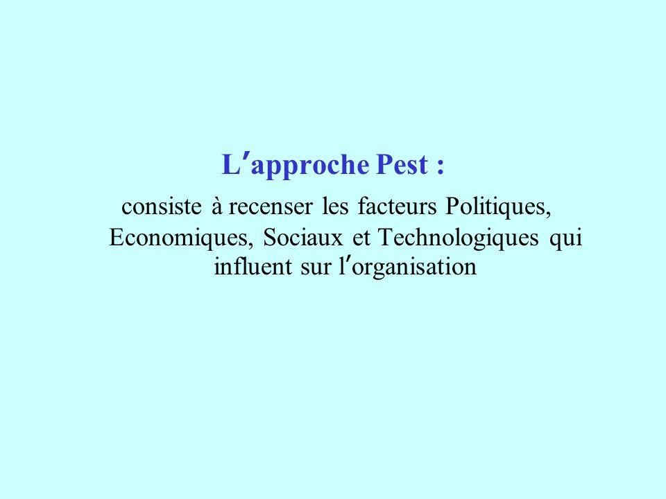 Lapproche Pest : consiste à recenser les facteurs Politiques, Economiques, Sociaux et Technologiques qui influent sur lorganisation