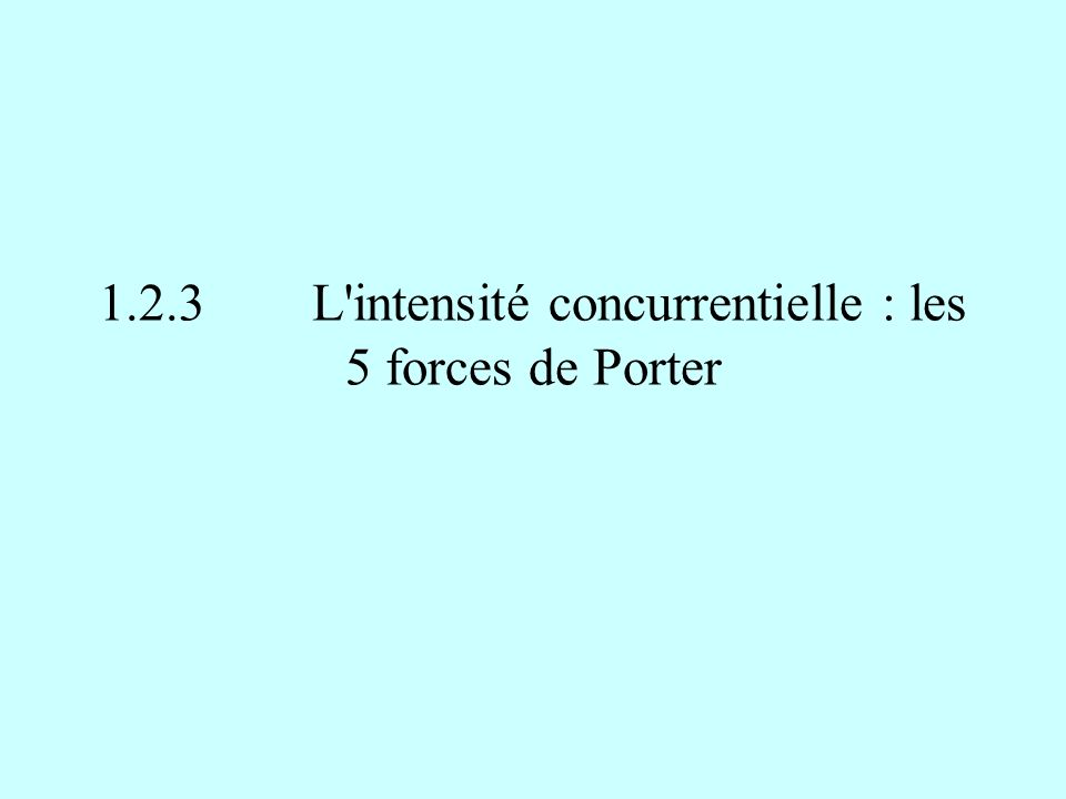 1.2.3L'intensité concurrentielle : les 5 forces de Porter