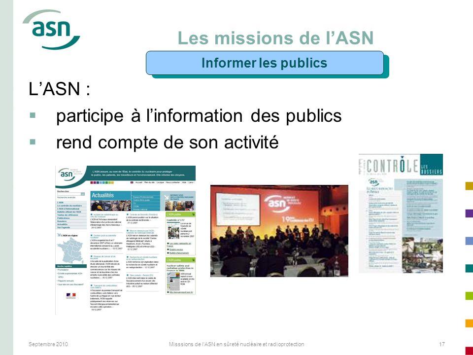 Septembre 2010Misssions de l'ASN en sûreté nucléaire et radioprotection17 Les missions de lASN LASN : participe à linformation des publics rend compte