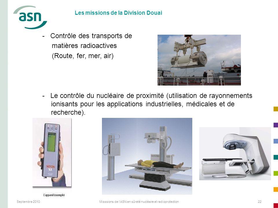 Septembre 2010Misssions de l'ASN en sûreté nucléaire et radioprotection22 Les missions de la Division Douai - Contrôle des transports de matières radi