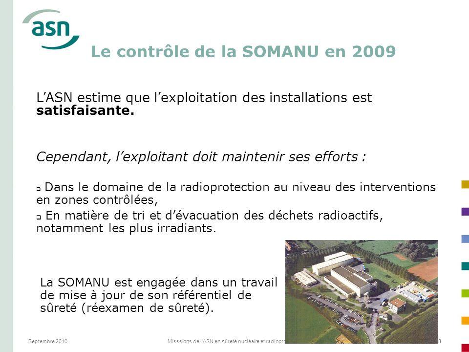 Septembre 2010Misssions de l'ASN en sûreté nucléaire et radioprotection28 Le contrôle de la SOMANU en 2009 LASN estime que lexploitation des installat