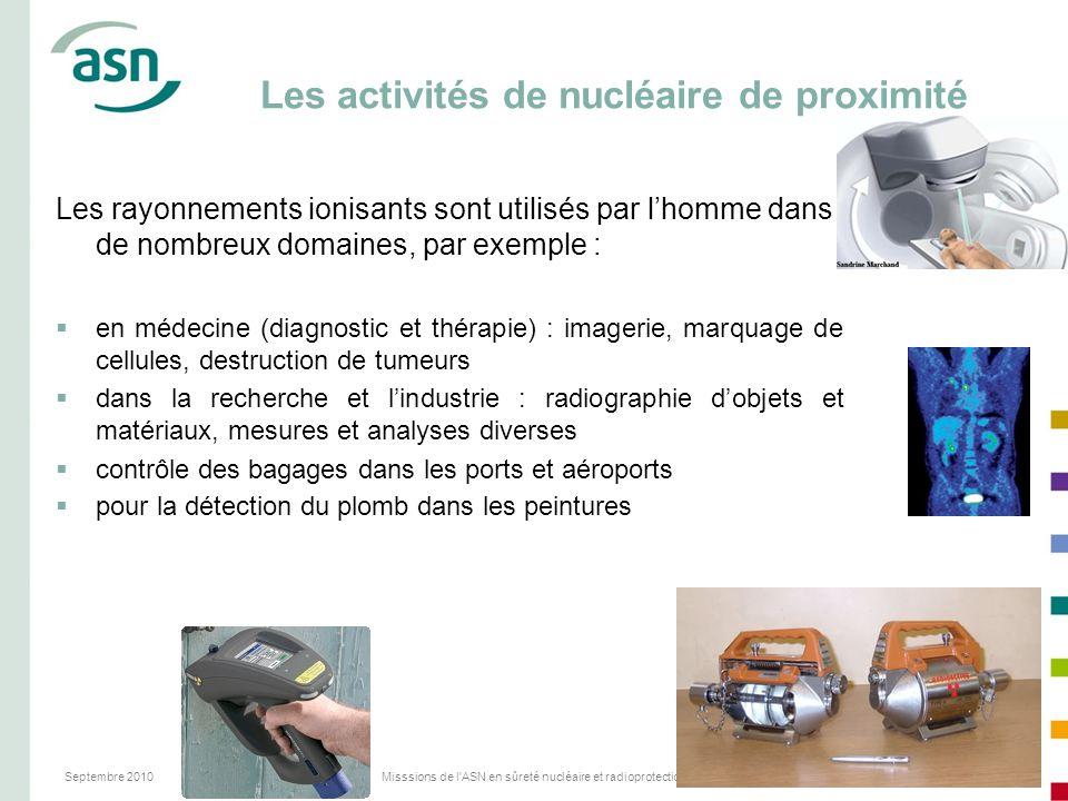 Septembre 2010Misssions de l'ASN en sûreté nucléaire et radioprotection29 Les activités de nucléaire de proximité Les rayonnements ionisants sont util
