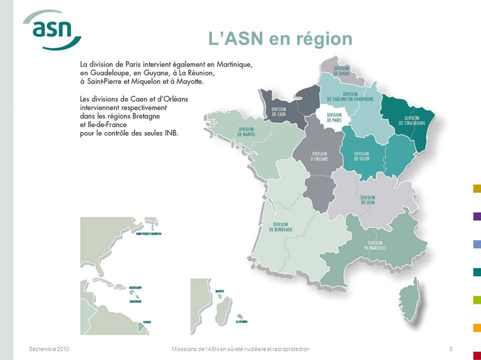 Septembre 2010Misssions de l'ASN en sûreté nucléaire et radioprotection3 LASN en région