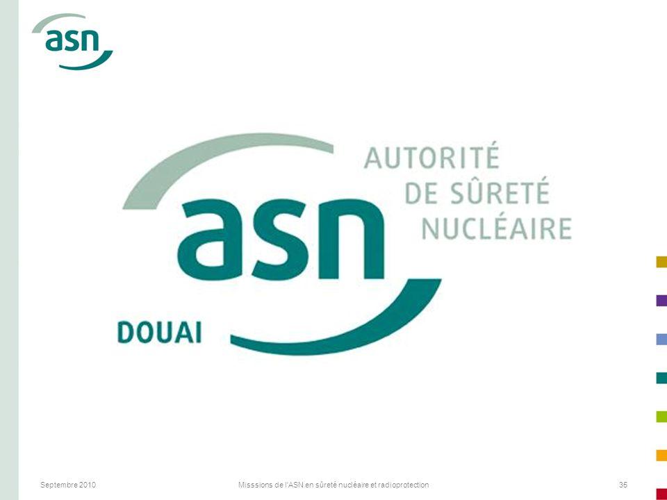 Septembre 2010Misssions de l'ASN en sûreté nucléaire et radioprotection35