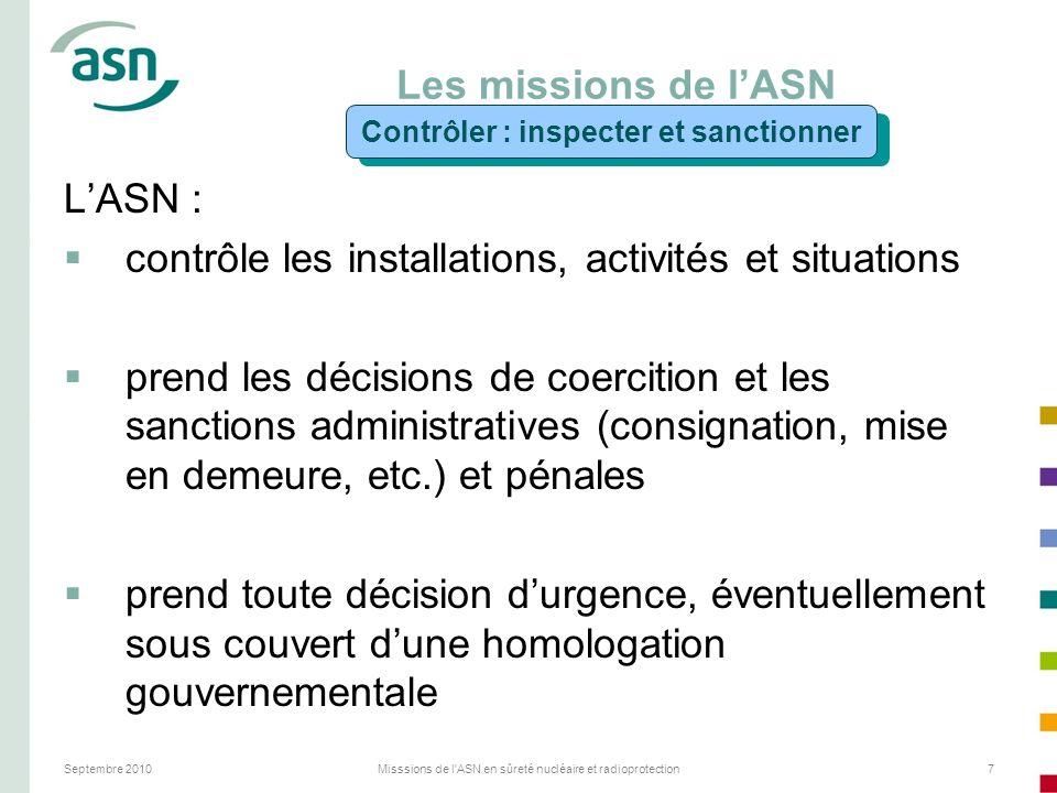 Septembre 2010Misssions de l'ASN en sûreté nucléaire et radioprotection7 Les missions de lASN LASN : contrôle les installations, activités et situatio