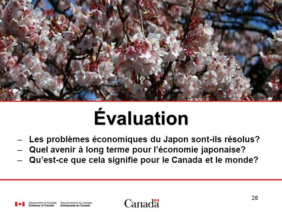 26 –Les problèmes économiques du Japon sont-ils résolus? –Quel avenir à long terme pour léconomie japonaise? –Quest-ce que cela signifie pour le Canad
