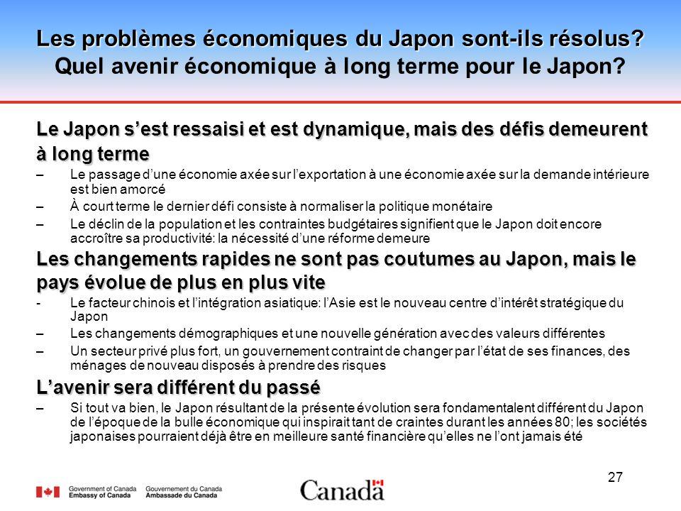 27 Les problèmes économiques du Japon sont-ils résolus? Les problèmes économiques du Japon sont-ils résolus? Quel avenir économique à long terme pour