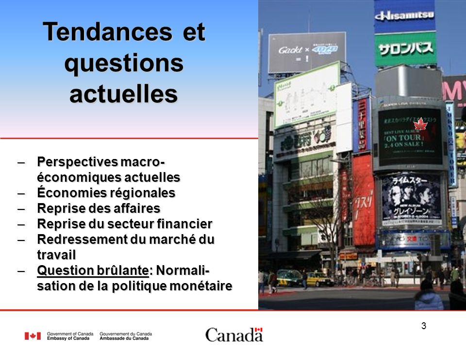 3 –Perspectives macro- économiques actuelles –Économies régionales –Reprise des affaires –Reprise du secteur financier –Redressement du marché du trav