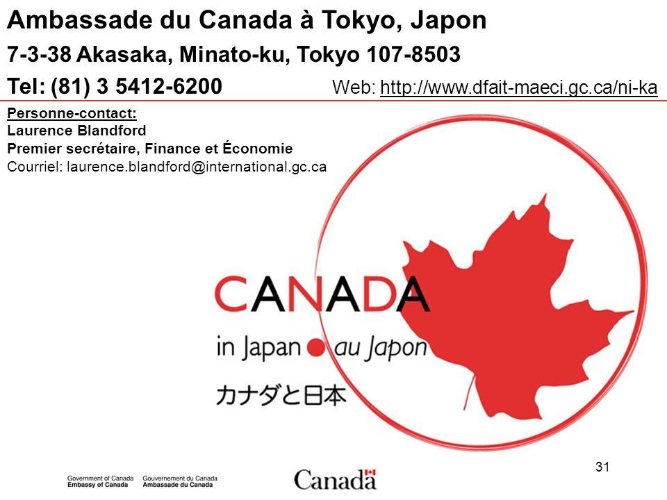 31 Ambassade du Canada à Tokyo, Japon 7-3-38 Akasaka, Minato-ku, Tokyo 107-8503 Tel: (81) 3 5412-6200 Web: http://www.dfait-maeci.gc.ca/ni-ka Personne