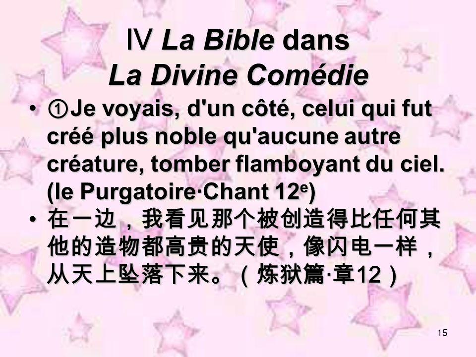 15 La Bible dans La Divine Comédie La Bible dans La Divine Comédie Je voyais, d'un côté, celui qui fut créé plus noble qu'aucune autre créature, tombe