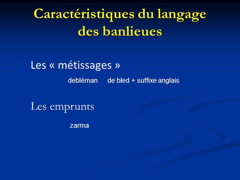 Caractéristiques du langage des banlieues Les « métissages » deblémande bled + suffixe anglais Les emprunts zarma