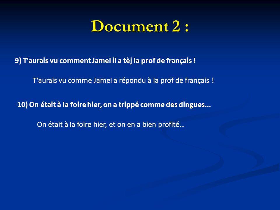 Document 2 : 9) T'aurais vu comment Jamel il a tèj la prof de français ! Taurais vu comme Jamel a répondu à la prof de français ! 10) On était à la fo