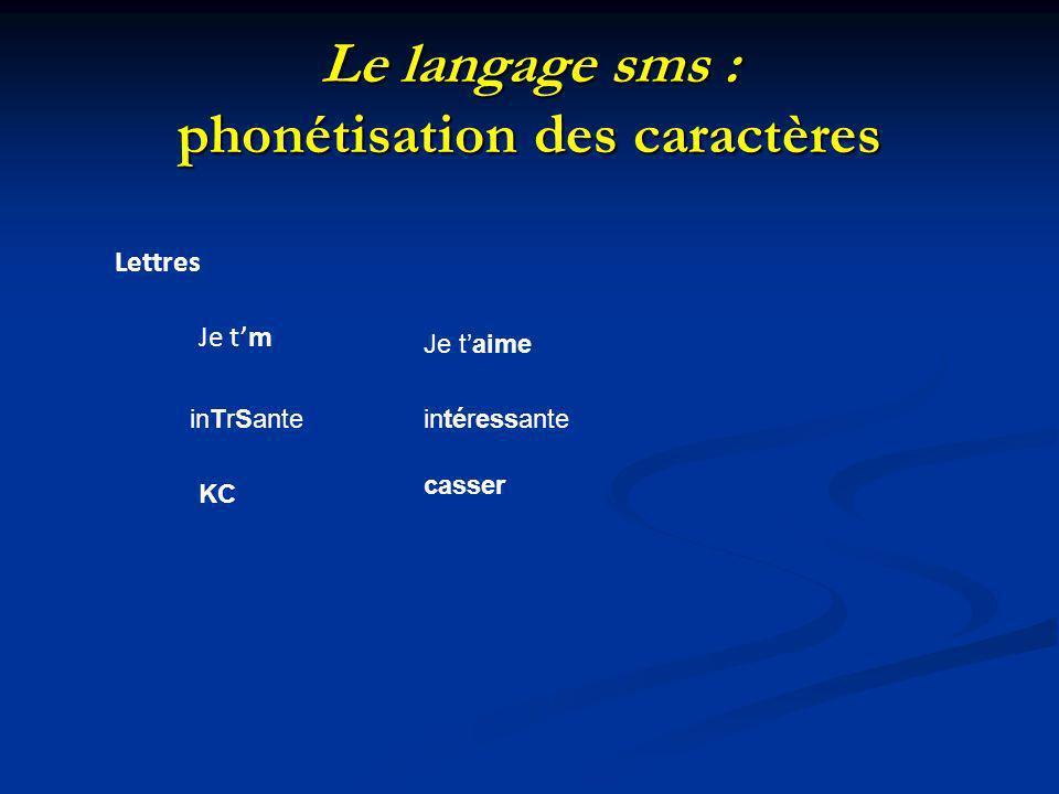 Le langage sms : phonétisation des caractères Lettres Je tm Je taime inTrSanteintéressante KC casser