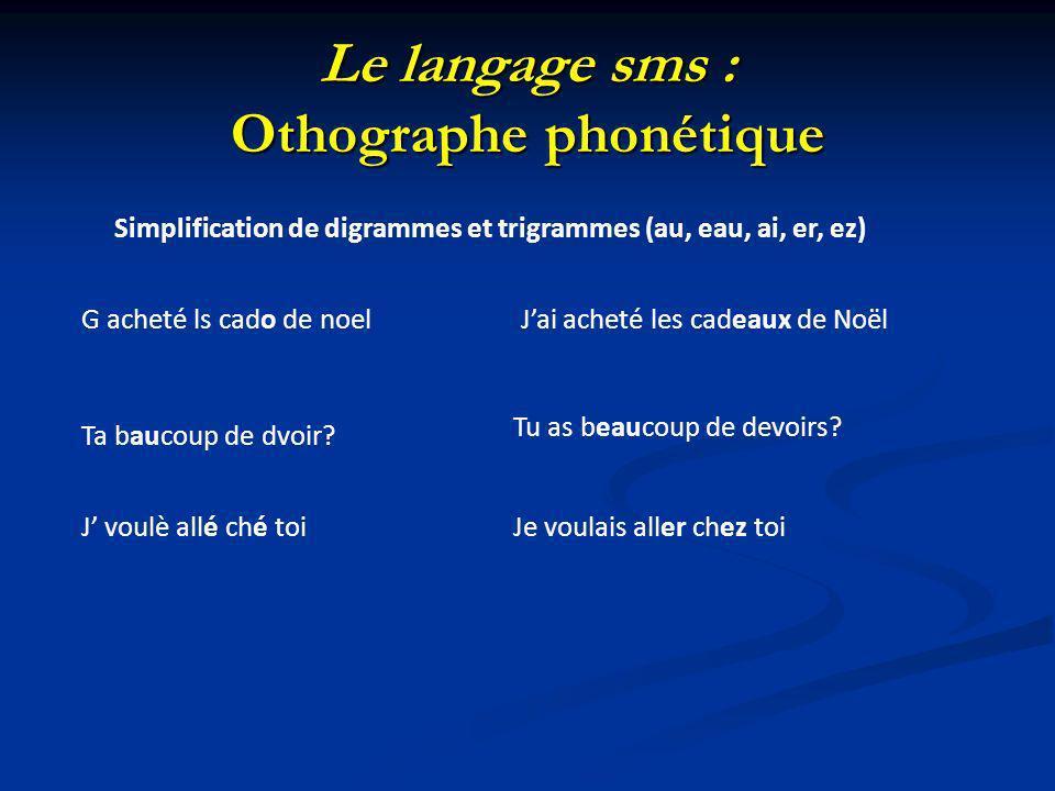 Le langage sms : Othographe phonétique Simplification de digrammes et trigrammes (au, eau, ai, er, ez) G acheté ls cado de noelJai acheté les cadeaux