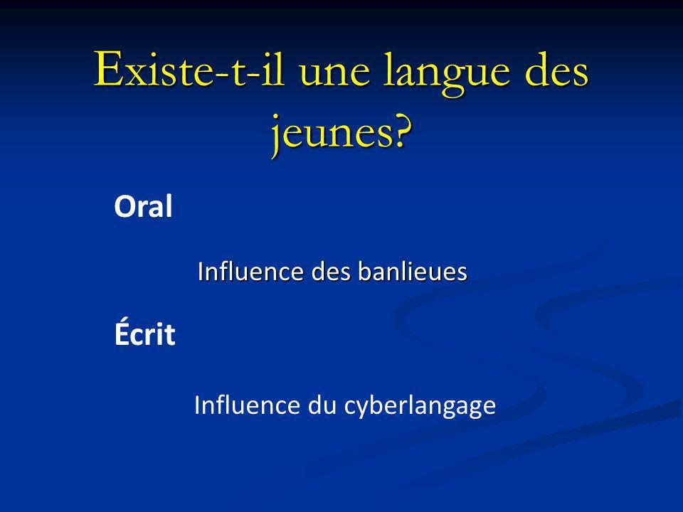 E xiste-t-il une langue des jeunes? Influence des banlieues Influence du cyberlangage Oral Écrit