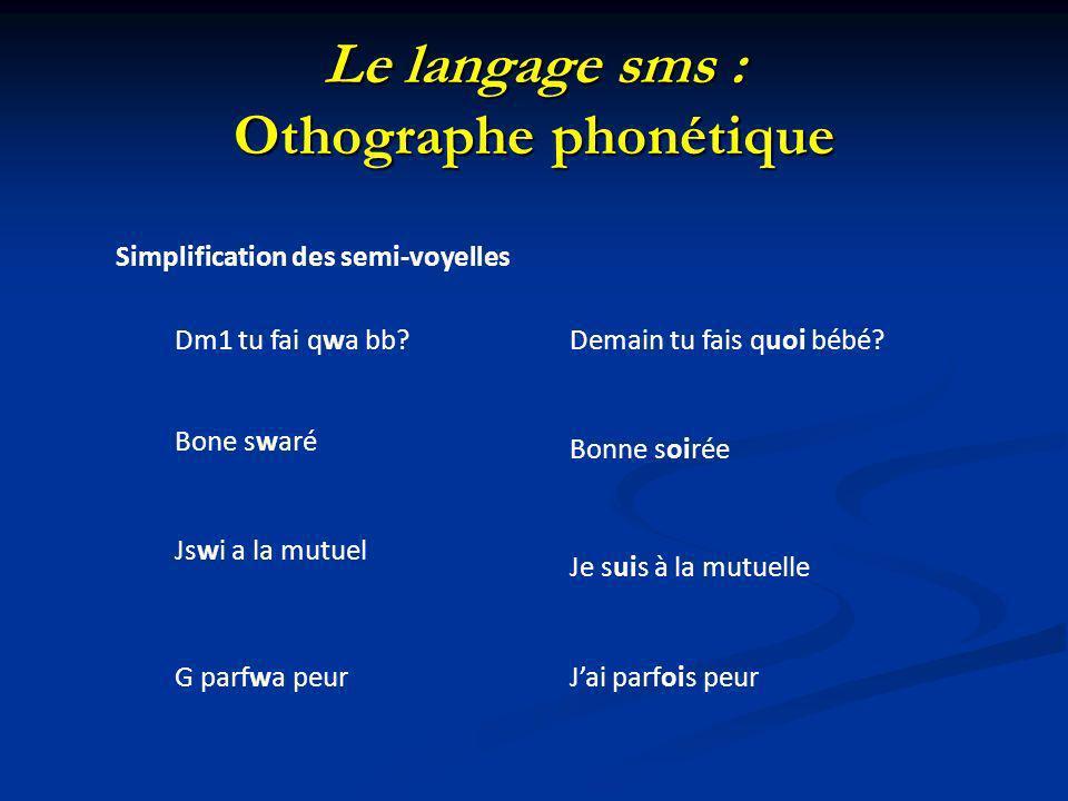 Le langage sms : Othographe phonétique Simplification des semi-voyelles Dm1 tu fai qwa bb?Demain tu fais quoi bébé? Bone swaré Bonne soirée Jswi a la