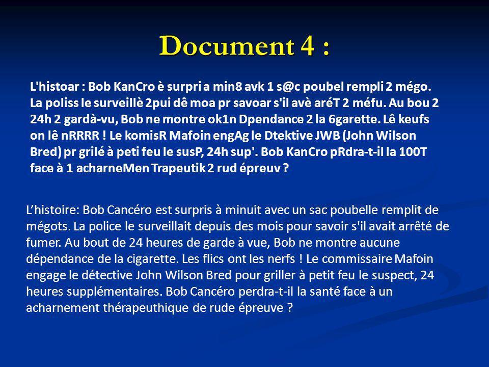 Document 4 : L'histoar : Bob KanCro è surpri a min8 avk 1 s@c poubel rempli 2 mégo. La poliss le surveillè 2pui dê moa pr savoar s'il avè aréT 2 méfu.