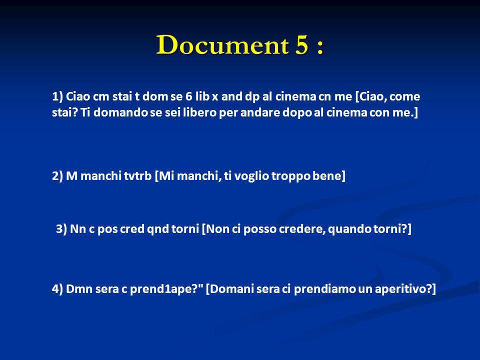 Document 5 : 1) Ciao cm stai t dom se 6 lib x and dp al cinema cn me [Ciao, come stai? Ti domando se sei libero per andare dopo al cinema con me.] 2)
