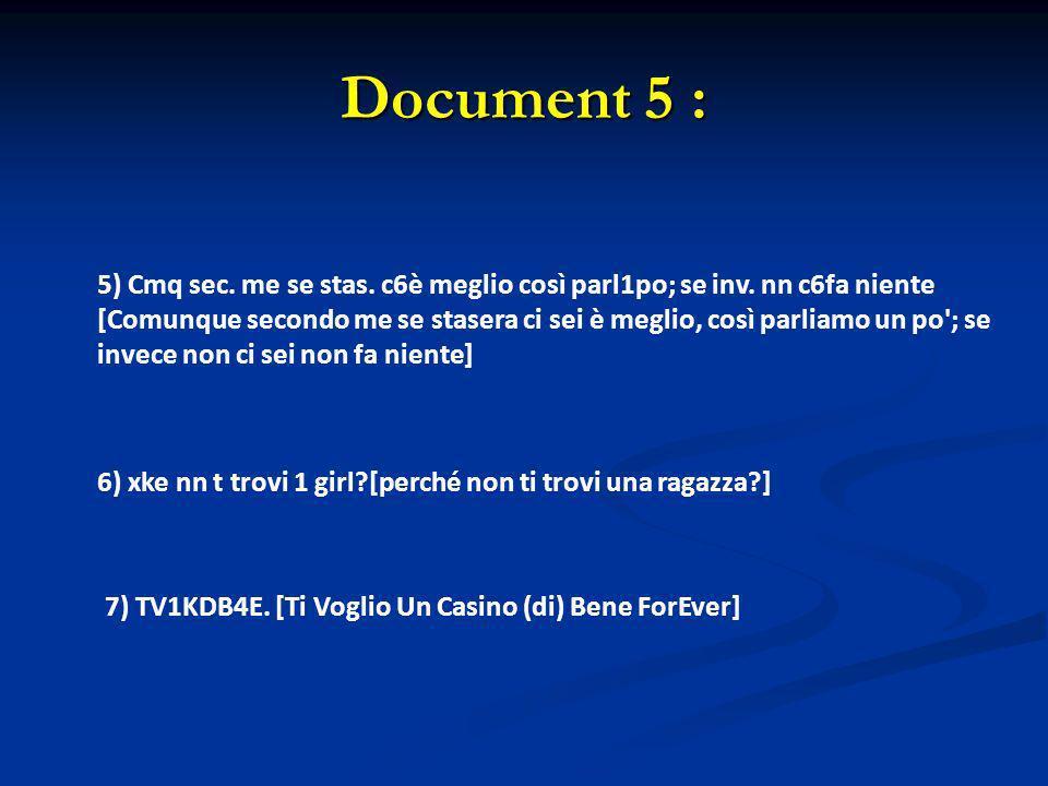 Document 5 : 5) Cmq sec. me se stas. c6è meglio così parl1po; se inv. nn c6fa niente [Comunque secondo me se stasera ci sei è meglio, così parliamo un