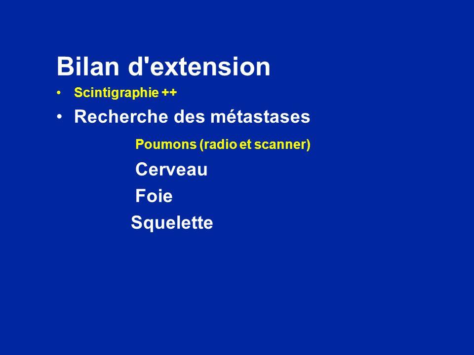Bilan d'extension Scintigraphie ++ Recherche des métastases Poumons (radio et scanner) Cerveau Foie Squelette