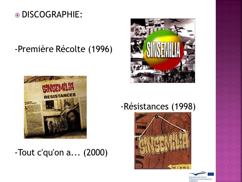 DISCOGRAPHIE: -Première Récolte (1996) -Résistances (1998) -Tout c'qu'on a... (2000)