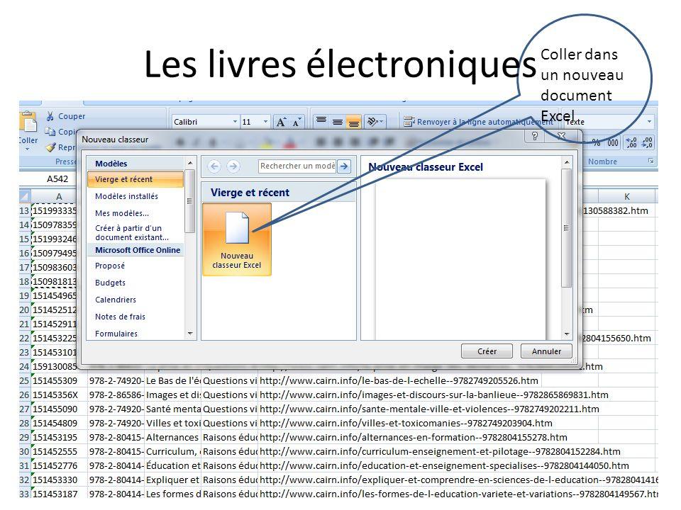 Coller dans un nouveau document Excel Les livres électroniques