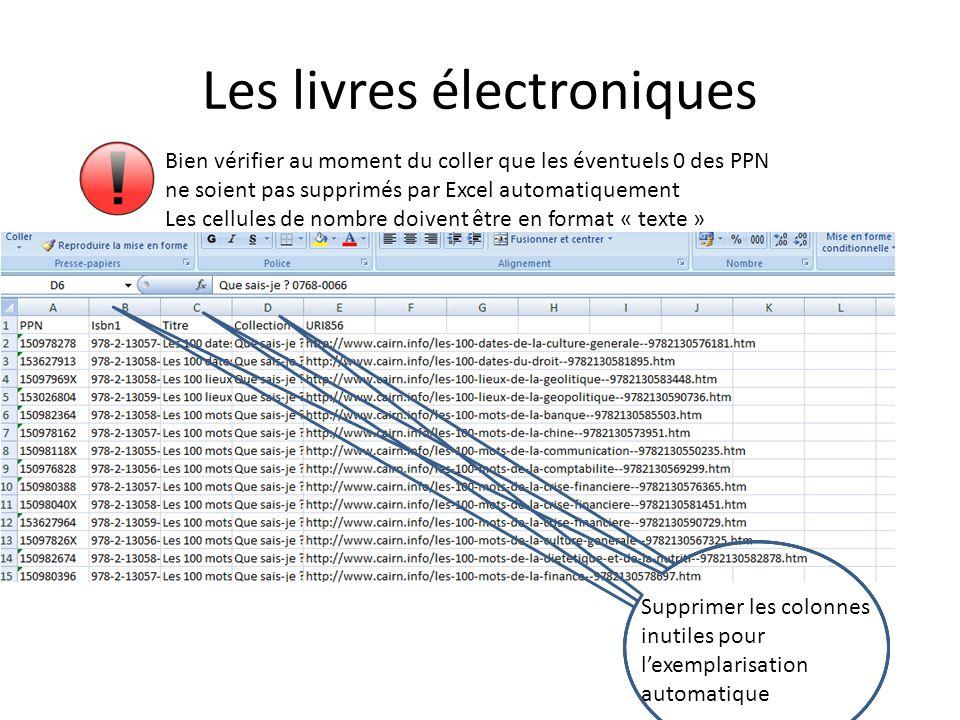 Bien vérifier au moment du coller que les éventuels 0 des PPN ne soient pas supprimés par Excel automatiquement Les cellules de nombre doivent être en format « texte » Supprimer les colonnes inutiles pour lexemplarisation automatique