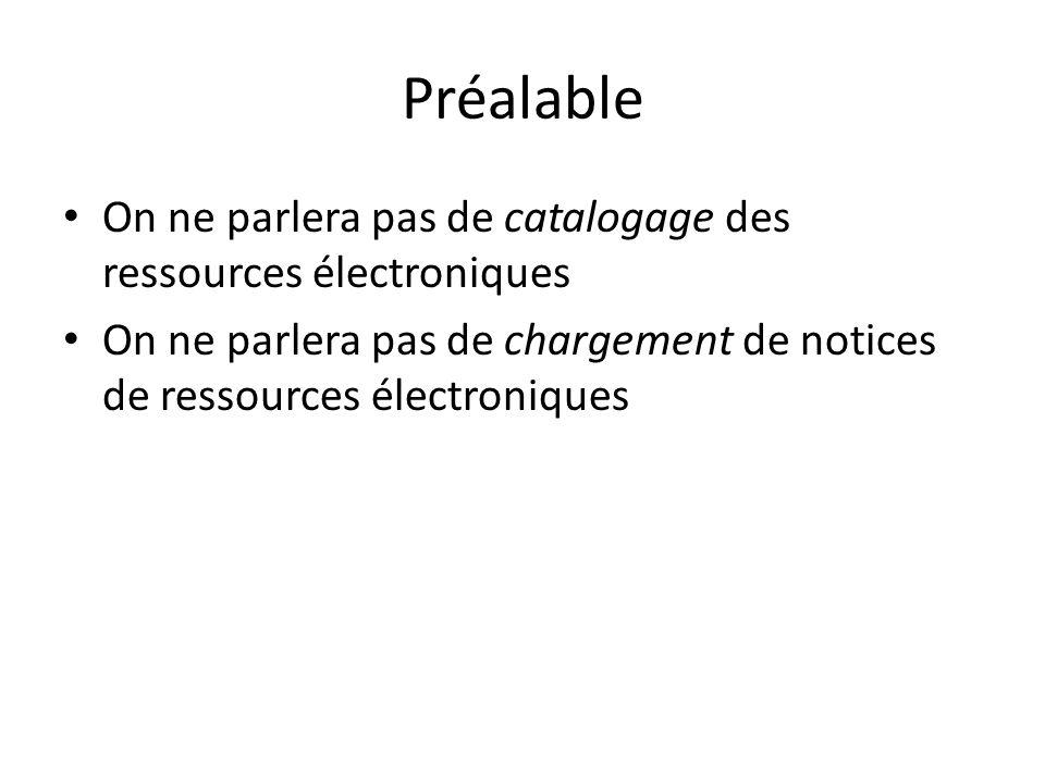 Préalable On ne parlera pas de catalogage des ressources électroniques On ne parlera pas de chargement de notices de ressources électroniques