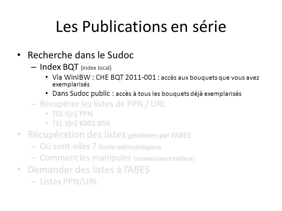 Recherche dans le Sudoc – Index BQT (index local) Via WinIBW : CHE BQT 2011-001 : accès aux bouquets que vous avez exemplarisés Dans Sudoc public : ac