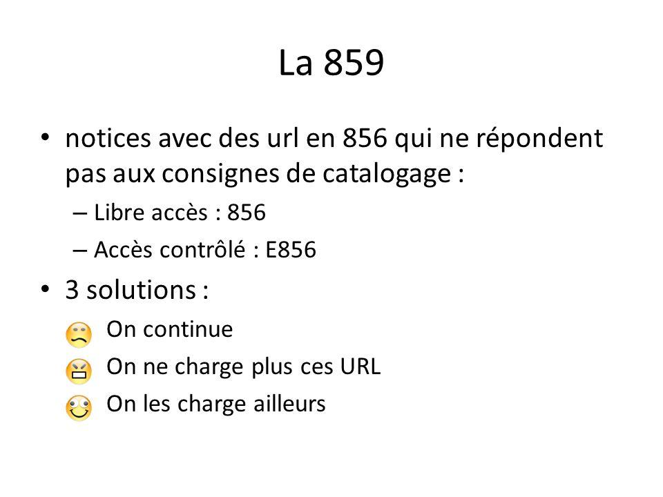 La 859 notices avec des url en 856 qui ne répondent pas aux consignes de catalogage : – Libre accès : 856 – Accès contrôlé : E856 3 solutions : On continue On ne charge plus ces URL On les charge ailleurs