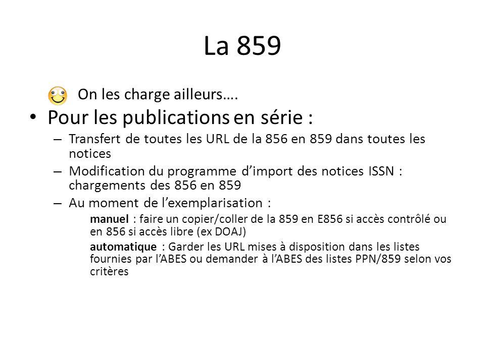 La 859 On les charge ailleurs…. Pour les publications en série : – Transfert de toutes les URL de la 856 en 859 dans toutes les notices – Modification