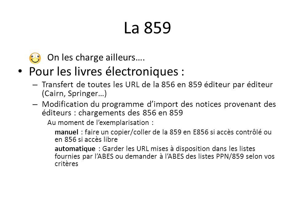 La 859 On les charge ailleurs…. Pour les livres électroniques : – Transfert de toutes les URL de la 856 en 859 éditeur par éditeur (Cairn, Springer…)