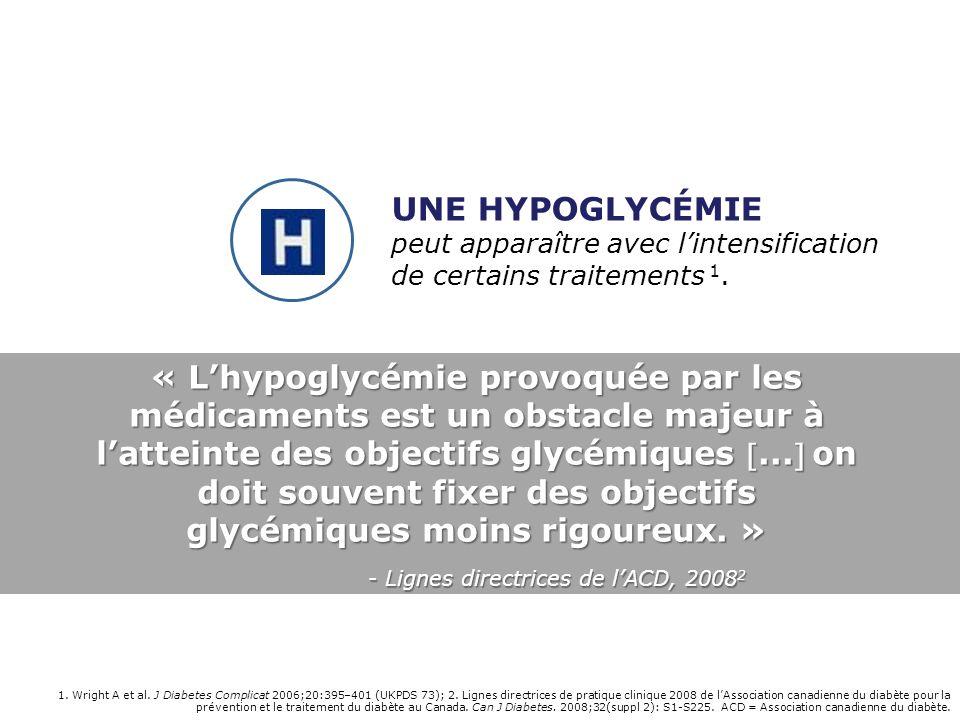 1. Wright A et al. J Diabetes Complicat 2006;20:395–401 (UKPDS 73); 2. Lignes directrices de pratique clinique 2008 de lAssociation canadienne du diab