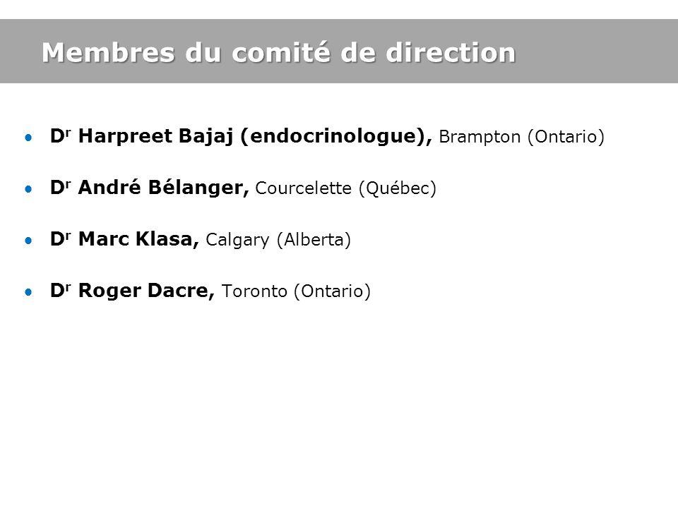 Membres du comité de direction D r Harpreet Bajaj (endocrinologue), Brampton (Ontario) D r André Bélanger, Courcelette (Québec) D r Marc Klasa, Calgar