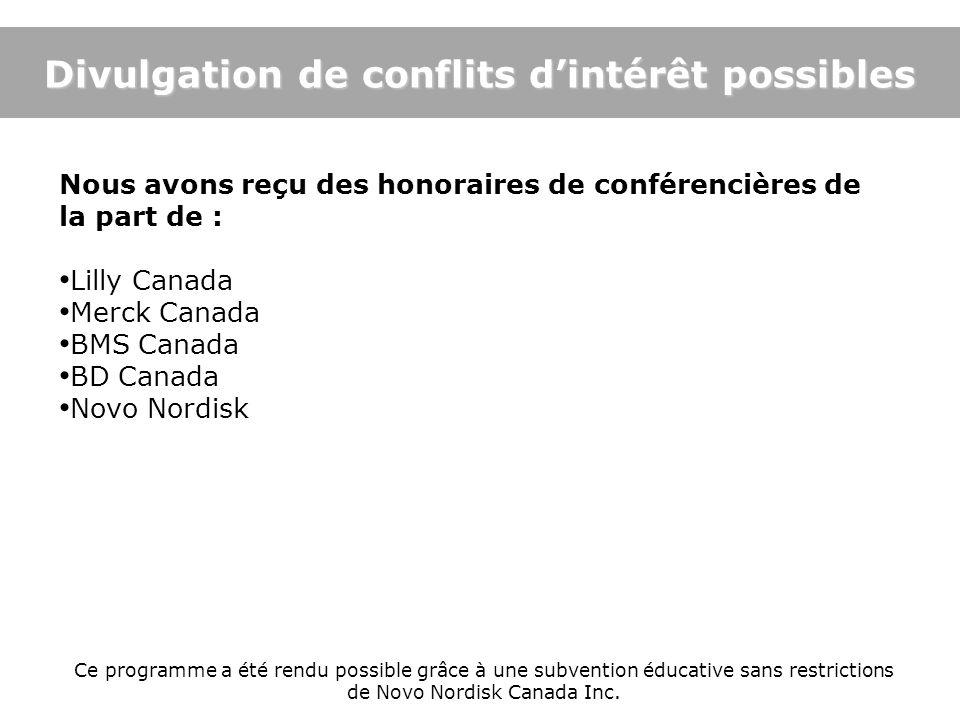 Nous avons reçu des honoraires de conférencières de la part de : Lilly Canada Merck Canada BMS Canada BD Canada Novo Nordisk Ce programme a été rendu
