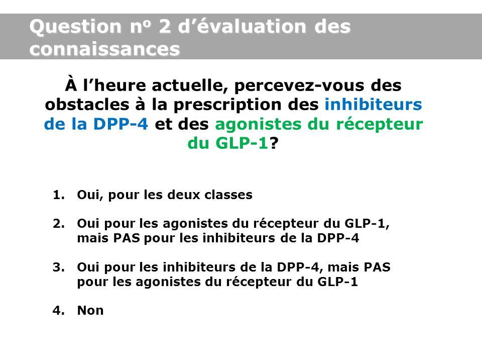 Question n o 2 dévaluation des connaissances À lheure actuelle, percevez-vous des obstacles à la prescription des inhibiteurs de la DPP-4 et des agoni