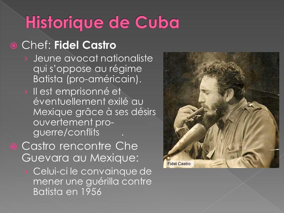 Chef: Fidel Castro Jeune avocat nationaliste qui soppose au régime Batista (pro-américain). Il est emprisonné et éventuellement exilé au Mexique grâce
