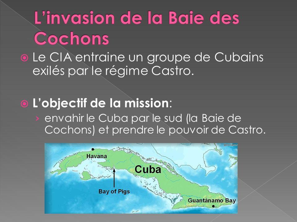 Le CIA entraine un groupe de Cubains exilés par le régime Castro. Lobjectif de la mission : envahir le Cuba par le sud (la Baie de Cochons) et prendre