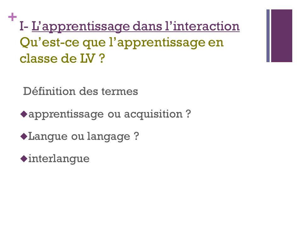 + I- Lapprentissage dans linteraction Quest-ce que lapprentissage en classe de LV .