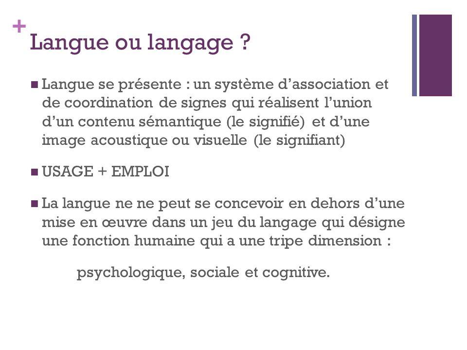+ Langue ou langage .