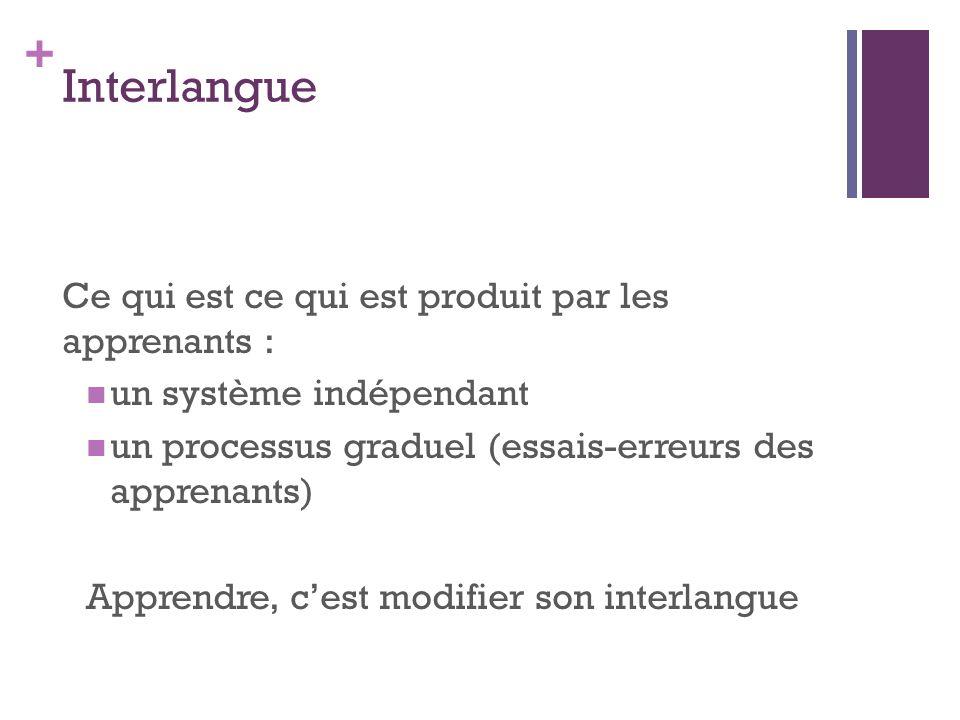 + Interlangue Ce qui est ce qui est produit par les apprenants : un système indépendant un processus graduel (essais-erreurs des apprenants) Apprendre, cest modifier son interlangue