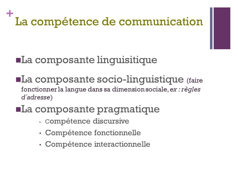 + La compétence de communication La composante linguisitique La composante socio-linguistique (faire fonctionner la langue dans sa dimension sociale, ex : règles d adresse) La composante pragmatique C ompétence discursive Compétence fonctionnelle Compétence interactionnelle