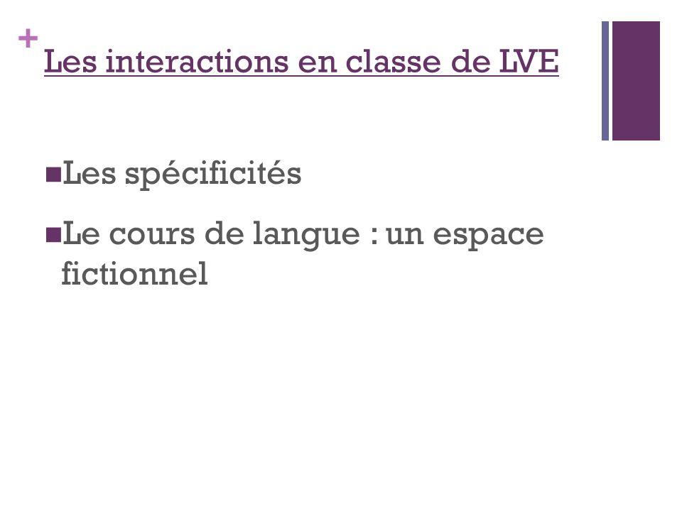 + Les interactions en classe de LVE Les spécificités Le cours de langue : un espace fictionnel