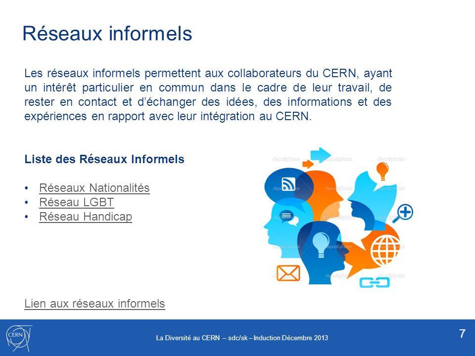 Réseaux informels 7 Les réseaux informels permettent aux collaborateurs du CERN, ayant un intérêt particulier en commun dans le cadre de leur travail,