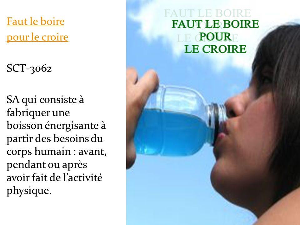 Faut le boire pour le croire SCT-3062 SA qui consiste à fabriquer une boisson énergisante à partir des besoins du corps humain : avant, pendant ou apr