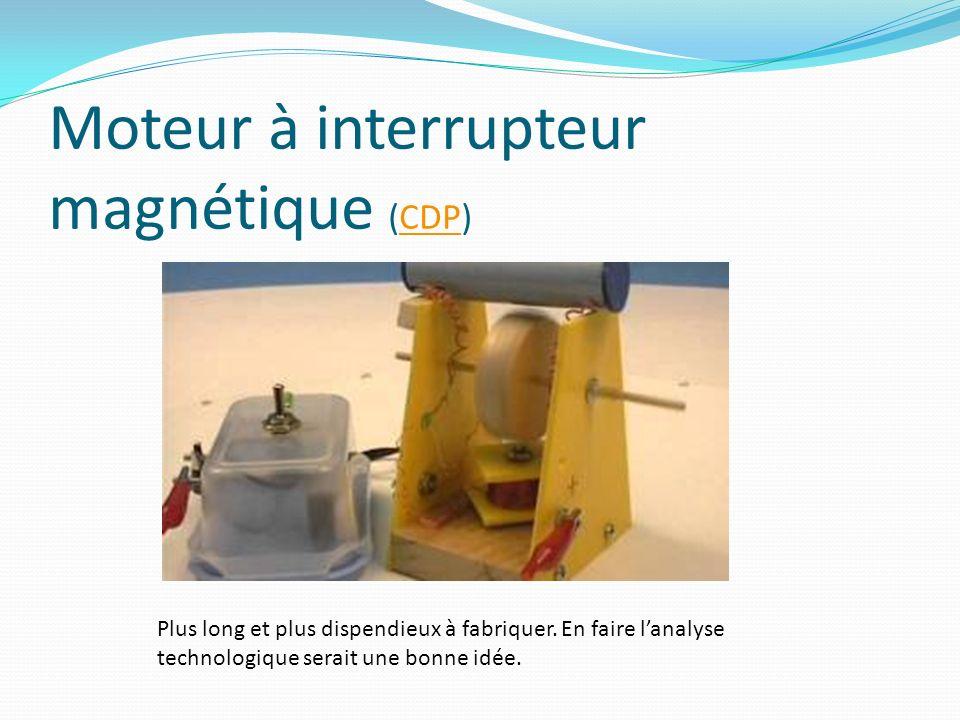 Moteur à interrupteur magnétique (CDP)CDP Plus long et plus dispendieux à fabriquer. En faire lanalyse technologique serait une bonne idée.